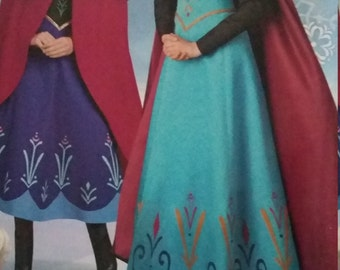 UNCUT and FF Pattern Pieces Vintage Simplicity W0745 Sewing Pattern Disney Frozen Costume