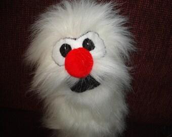 White furry critter hand puppet handmade puppets