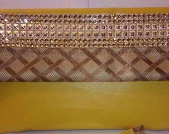 """Large party, evening, bridal  clutch in yellow and brown, """"pina colada"""""""