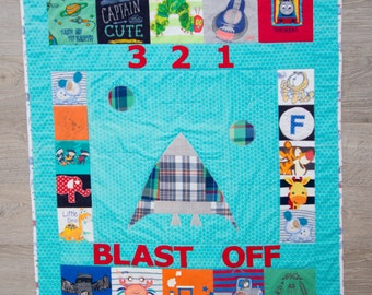 Custom Made Themed Recycled Clothes Quilt