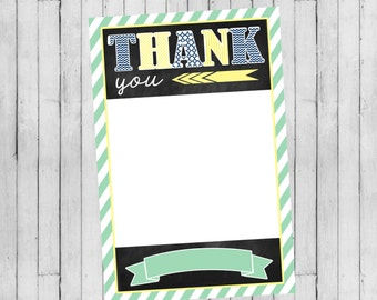 Boy Baby Shower Invitation   Flat Thank You Card   Digital File