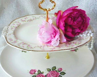 Stunning Oval Dessert Stand/Plate, Pink Floral themed /Two Tier /Great for your Shabby Elegant Dessert Display