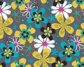 Michael MIller, Fabric by the Yard Far Out Floral CX3372-Gray , 1 yd, Cotton, Kitschy