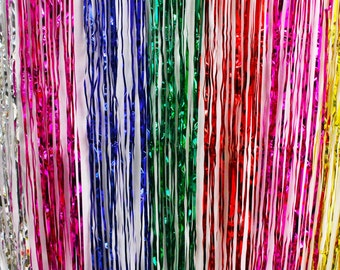 3'x8' Rainbow Foil Metallic Fringe Curtain Backdrop Party Decoration Wall Hanging Tinsel Thanksgiving Christmas Hanukkah New Year's Eve