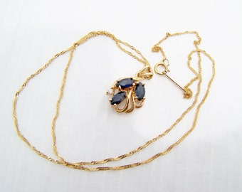 Sapphire Necklace 14k Gold with Diamond