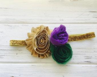 Baby bow headband,elastic headband, adult headband, mardi gras headband