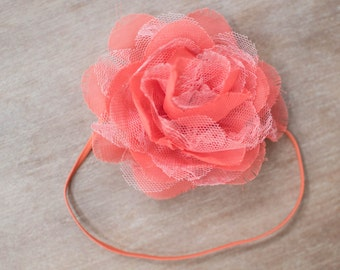 Coral Baby Headbands, Coral Headband, Baby Girl Headbands, Flower Headbands, Newborn Headbands, Baby Headband, Baby Headbands