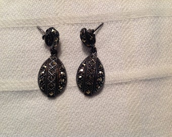 Vintage Sterling Silver Pearced Dangle Earrings with Marcasite