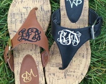 Brown Monogrammed Thong Sandals, Brown Embroidered Sandals, Personalized Summer Shoes, Brown personalized  sandals, customized brown sandals