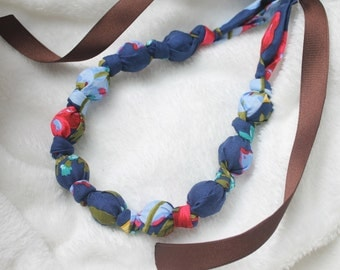 Fabric Statement Necklace,Teething Necklace, Chomping Necklace, Nursing Necklace - English Country Blues