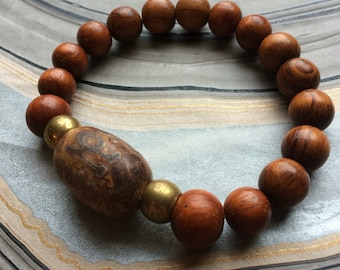 Natural Etched Agate Prayer Bead, Wood and Brass Stretch Bracelet