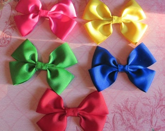 Set of 5 Double Bow Alligator Clip