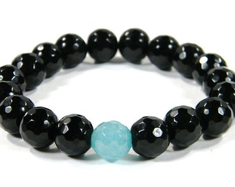 Jade & Agate Faceted Bracelet