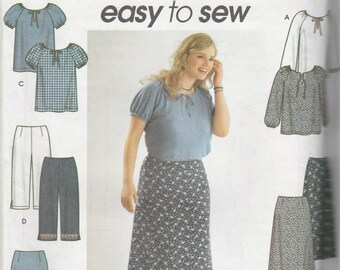 Simplicity 9193 Size 26W-32W Women's Top, Pants and Skirt Sewing Pattern 2000 Uncut