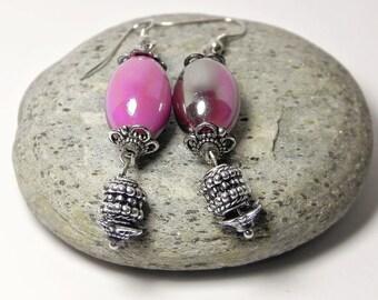 Dangle Earrings Drop Earrings Pink Silver Earrings Long Beaded Earrings Beadwork Simple Dainty Ethnic Gift for her Handmade Fashion Jewelry