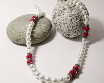 Pearl Necklace Red Necklace Beadwork White Beaded Necklace Elegant Simple Necklace Delicate Dainty Necklace Gift Handmade Fashion Jewelry