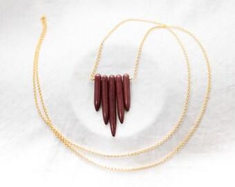 Brown Howlite Point Necklace