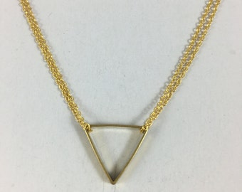 Gold Double Chain Triangle Necklace