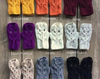 Owl Fingerless Mitts, Fingerless Gloves, Owl Mitts, Owl Gloves, Owl Fingerless, Animal Mitts, Fingerless - Choose Your Color