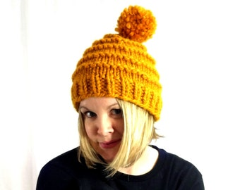 Pom Pom Hat, Hand Knit Hat, Knitted Hats for Women, Winter Hat, Wool Hat, Handmade Hat, The Vermonter