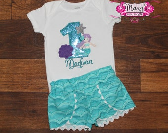 Under the Sea Mermaid Birthday Shirt Onesie and Coachella Shorts Outfit