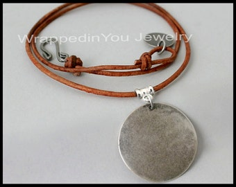 Bohemian CHOKER - Stampable Silver Coin Disc Charm on Adjustable Leather Cord - Boho Choker Necklace - Pick COLOR / LENGTH - Usa - 988