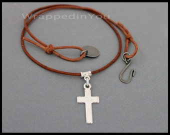 Silver Cross CHOKER w/ Blank Stamping Coin Disc - Small Cross on Leather Cord - Adjustable Choker Necklace w/ Hook - Pick COLOR / LENGTH 988