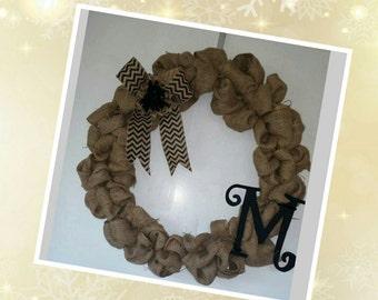 Large Burlap Monogram Wreath