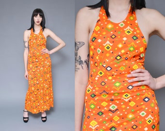 70s Maxi Dress Hippie Halter Top Sun Dress S Neon Orange Yellow Digital AZTEC Ethnic Boho Floral Print Empire Waist Backless Halter Dress