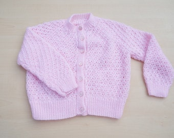 Baby cardigan hand knitted in pink 18 months - knitted baby clothes - baby girl clothes - baby knitwear - girls cardigan