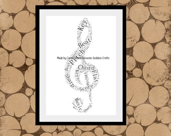 Treble Clef Print, Personalised Music Gift, Treble Clef Word Art, Music Word Art, Music Word Collage, Gift for Musician, Treble Clef Wordle