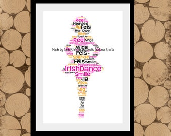 Irish Dance Print, Personalised Irish Dancer, Irish Dancer Word Art, Irish Dancer Word Collage, Irish Dancer Gift, Personalised Irish Dancer