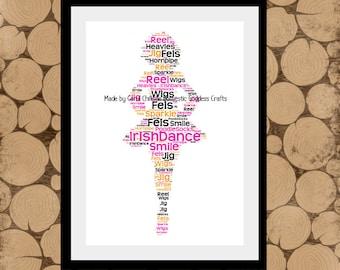Irish Dance Print, Personalised Irish Dancer, Irish Dancer Word Art, Irish Dancer Word Collage, Irish Dancer Gift, Personalised Irish Dancer