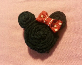 """Handmade~ Disney Minnie Mouse Inspired Red White Pink 2.5"""" Hair Bow on Lined Clip ~"""