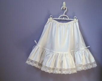 Girls Petticoat,  Cotton Halfslip, Flower Girl, Tutu Liner, White, Ivory, Black, prairie skirt, girls sizes 8, 10, 12, 14, 16