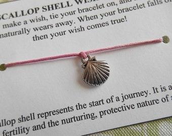 Scallop Shell Wish Bracelet - Choose Your Color