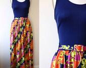 SALE // 1970s pyschedelic maxi dress // disco dress // vintage dress
