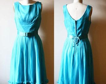 1960s blue chiffon dress // belted dress // vintage dress