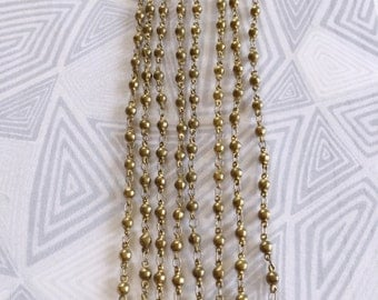 Vintage Bead Chain, Brass Bead Chain, Brass Rosary Chain, Tiny Bead Chain, 3mm, 3Ft