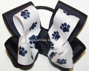 Cheer Bow, Blue White Paw Print Bow, Tigers Navy White Ribbons Ponytail Holder, Football Cheerleader Soccer Volleyball Softball, Bulk Sale
