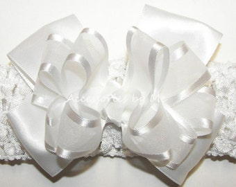 White Headband, Organza Satin Baptism Bow Band, Infant Baby Girls Accessories, Dressy Church Blessing Christening Communion, Party Headbands