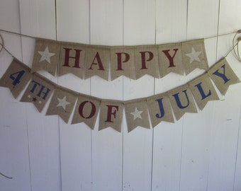 Fourth of July Banner - 4th of July Bunting - Patriotic Garland - Independence Day Sign - Rustic Vintage Style 4th of July Photo Prop Decor