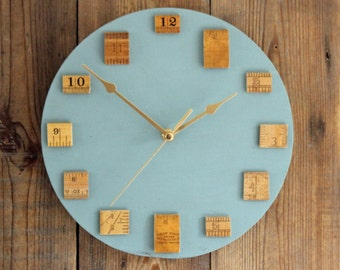 Vintage Wooden Ruler Wall Clock Blue Grey (16/149)