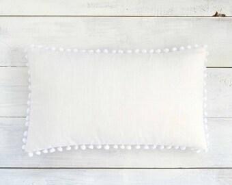 """White Pom Pom Lumbar Pillow Cover - Linen Look -  12"""" x 20"""" - Decorative Pillow, Throw Pillow, Pom Pom Pillow Cover, White Pillow"""