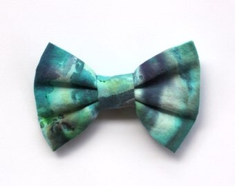 Blue Tie Dye Hair Bow