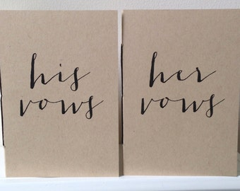 His & Her Wedding Vow Book Set of Two Booklets - Modern Font Wedding Vows