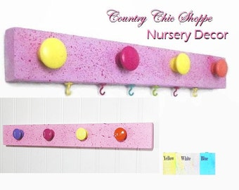 New Baby Nursery Wall Organizer with Brightly Colored Knobs and Hooks. Jewelry Hanger / Closet Organizer. Great New Baby Gift.