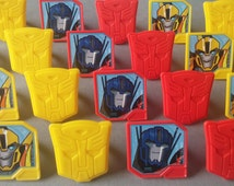 24 TRANSFORMERS Bumblebee and Optimus Prime rings for cupcake toppers cake birthday party favors goodie bags Cartoon Network robot shield 1C