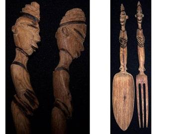 Vintage Tiki Set, Polynesian Wood Set, Hand Carved Wood, Salad Fork and Spoon, Tribal Utensils, Large Spoon Fork, Oversized Utensils,