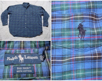 Vintage Retro Men's 90's Polo Ralph Lauren Big Shirt Blue Green Red Plaid Thick Buttonup Long Sleeve Shirt Cotton XL XXL